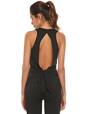 8e06dc9aaf52f3 SoTeer Women s Open Back Yoga Tops Tie Back Workout Racerback Tank Shirt  Black Large