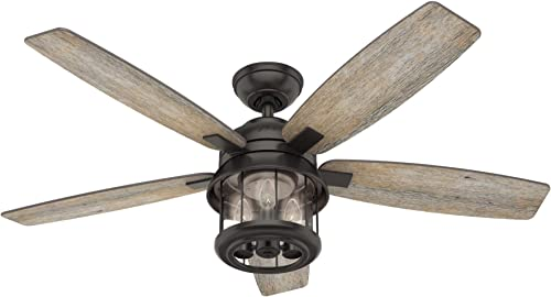 Hunter Coral Bay Indoor Outdoor Ceiling Fan with LED Light and Remote Control, 52 , Noble Bronze