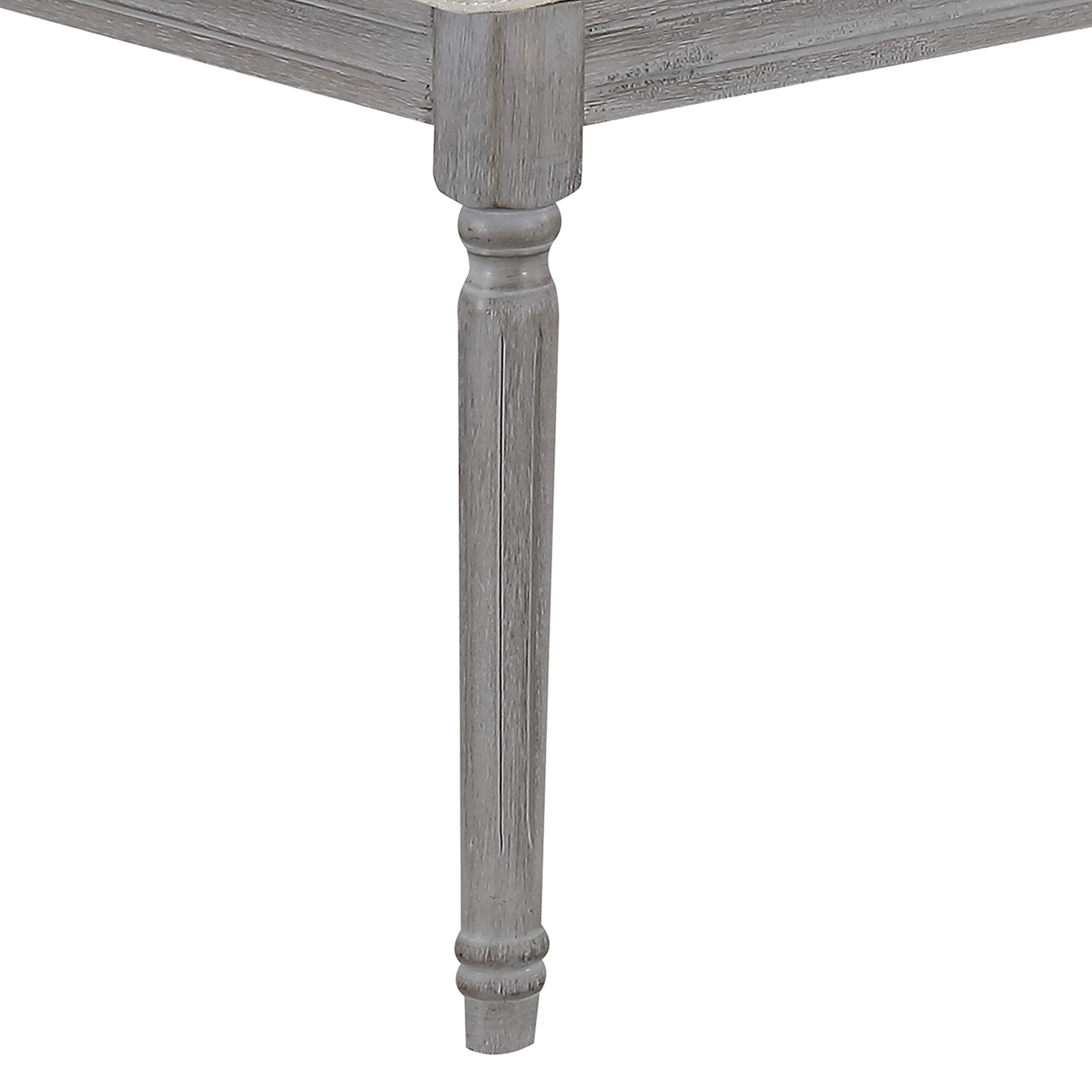 Jack Button Tufted Light Beige Upholstered Bench with Weathered Gray Legs by CHL CHRISTIES HOME LIVING (Image #4)