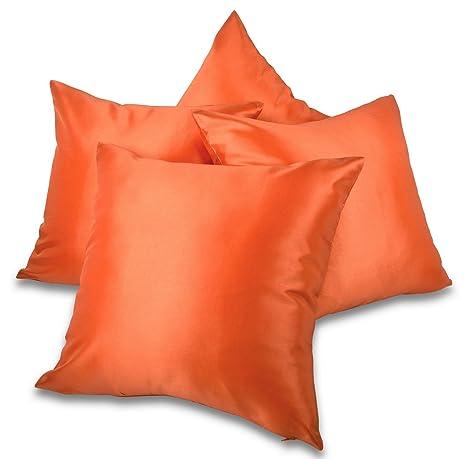 Amazon.com: Conjunto de 4 Naranja tafetán/Seda sintética 18 ...