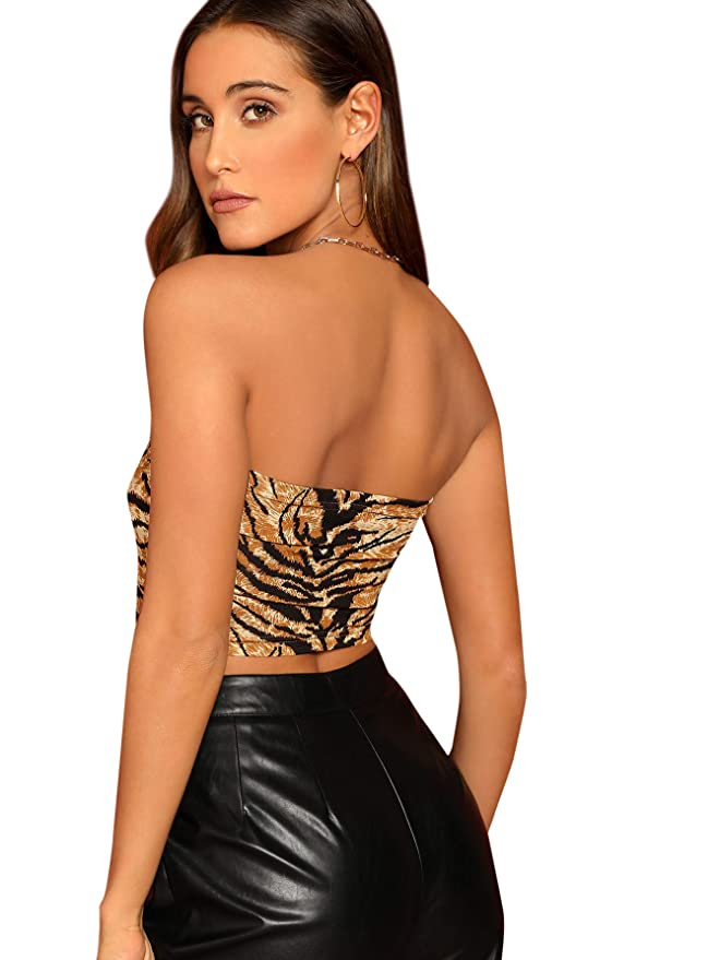 1ee1093a0e SheIn Women's Sexy Seamless Strapless Basic Animal Print Crop Bandeau Tube  Top at Amazon Women's Clothing store: