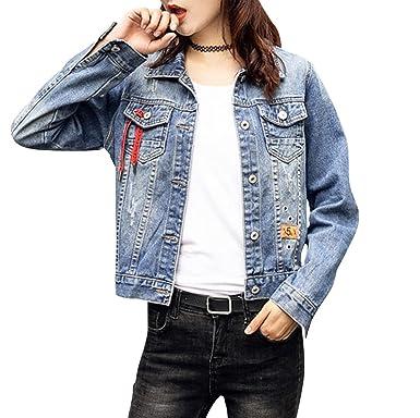 Frauen Basic Mäntel Jeansjacke Vintage Langhülse Lose Mädchen Jeans Mantel  Beiläufige Outwear for Damen Blau XXL 395c235ed2