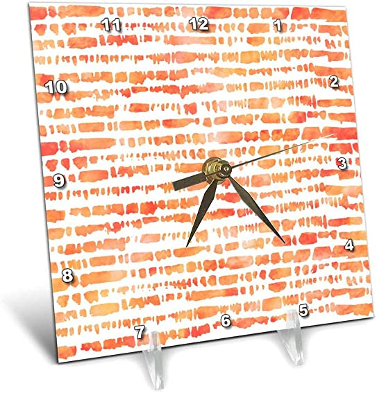 3D Rose Contemporary Orange Watercolor Uneven Brush Stroke Stripes Pattern Desk Clock, 6 x 6