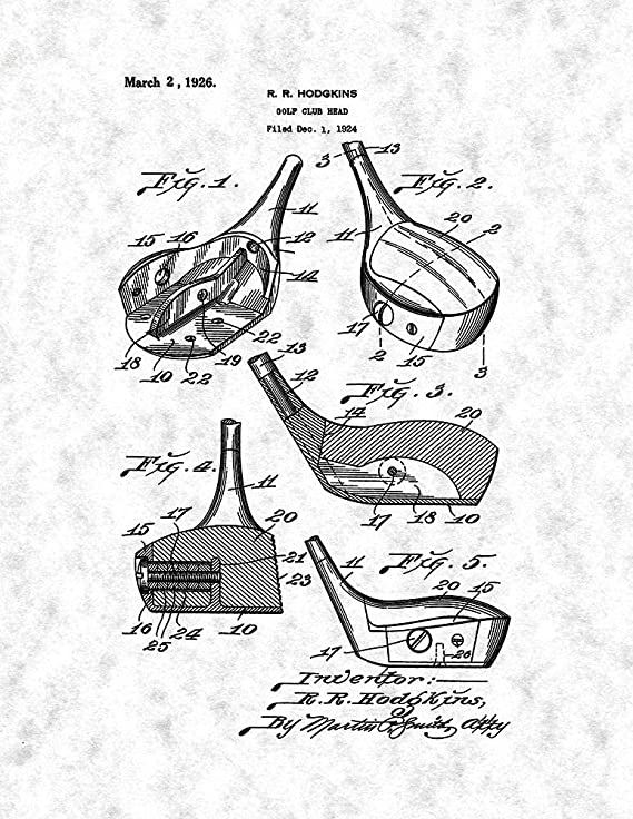 Amazon Com Golf Club Head Patent Print Gunmetal 8 5 X 11 M11256