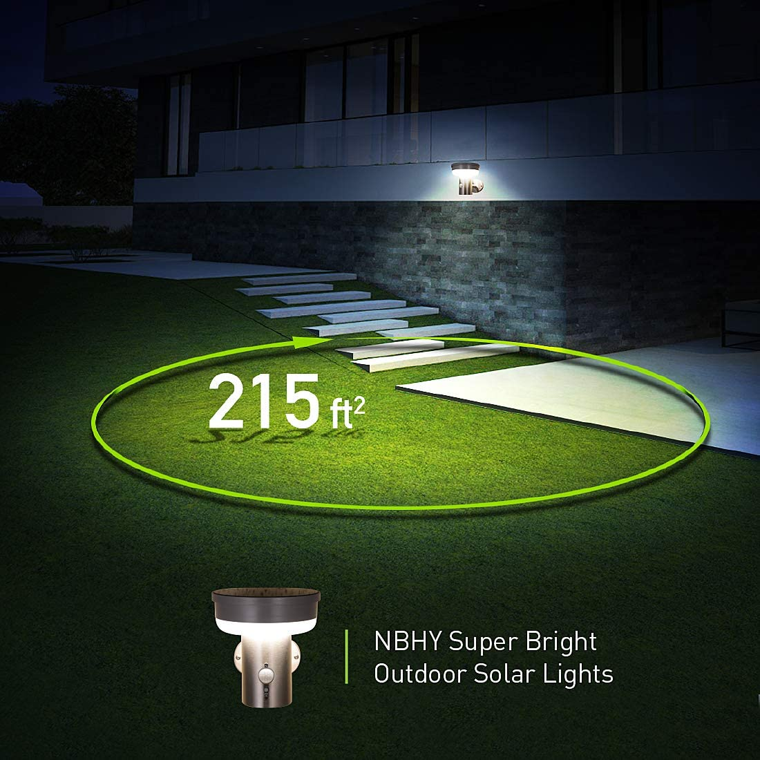 Solar Wall Light with Motion Sensor and Dust to Dawn Sensor LED Porch Lighting Fixture Black Stainless Steel Outdoor Sconce 4000K Natural White Multiple Lighting Modes for Diverse Needs