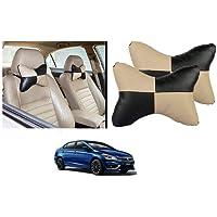 Kozdiko Car Seat Pillow/Seat Cushion/Head Rest (Black/Beige, Set of 2 Pcs) Neck Rest Pillow Square Chess Designfor Maruti Suzuki Ciaz Facelift