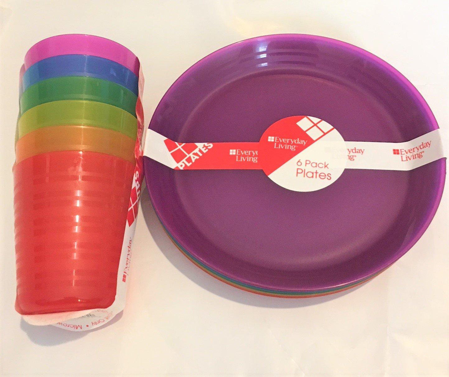 Everyday Living Plastic 7'' Plate & 8ozTumbler Set - 12 pcs total Assorted Colors