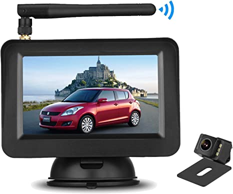 Color Super Night Vision License Plate Reverse Rear//Front View Camera 5 LCD Screen Guide Lines On//Off Digital Wireless Backup Camera Monitor System Kit