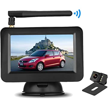 LeeKooLuu Wireless Backup Camera and 4.3'' Monitor System for Cars/SUVs/UTVs/Minivans IP69 Waterproof 6 LED Light Night Vision HD Color Rear/Front View Camera with Guide Lines On/Off