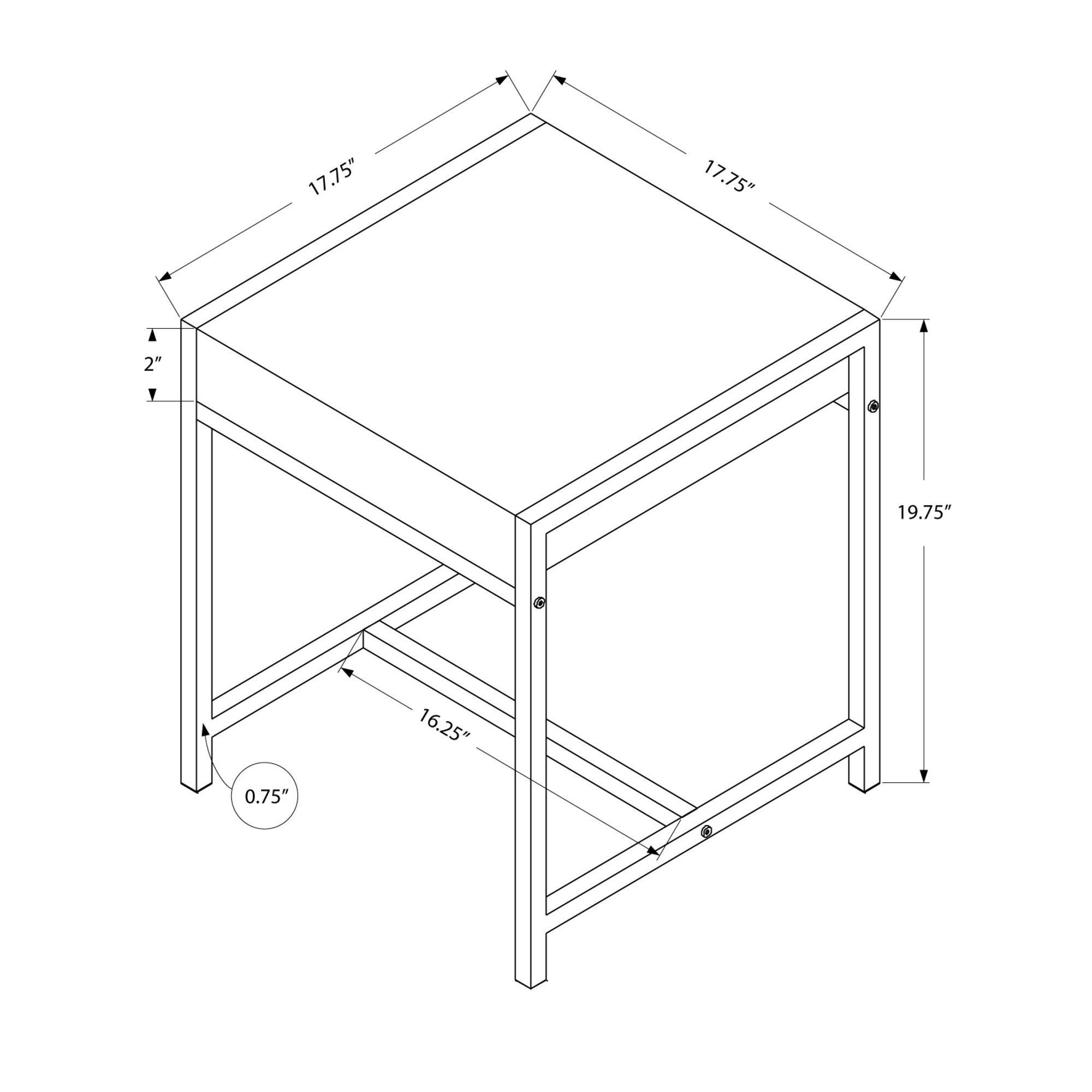 Monarch I 3050 Metal Accent Table, White Acrylic/Chrome by Monarch Specialties (Image #2)