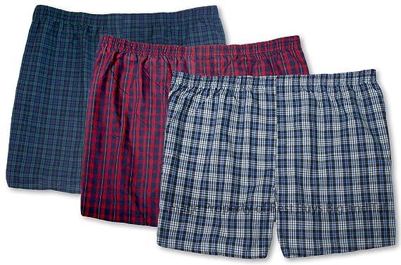 42daffca57bc Hanes Big Men's Lightweight Woven Boxers Underwear 3-Pack Assorted Plaids  ...