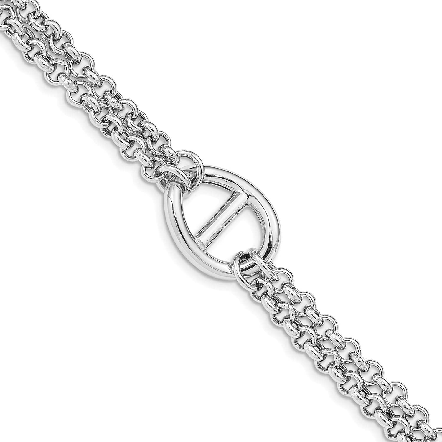 925 Sterling Silver Rhodium-plated Polished 16.5mm Fancy Link Bracelet 7.5