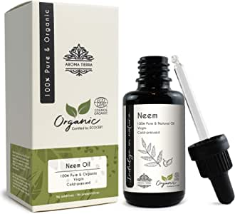 Neem Oil (Certified Organic) - Aroma Tierra - Fights skin & scalp infections, Boosts hair growth, Skin-care, Hair-care - 30ml