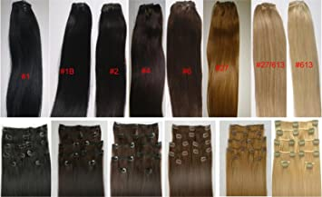 Amazoncom 18 Clip In Human Hair Extensions 10pcs 100g Color 1
