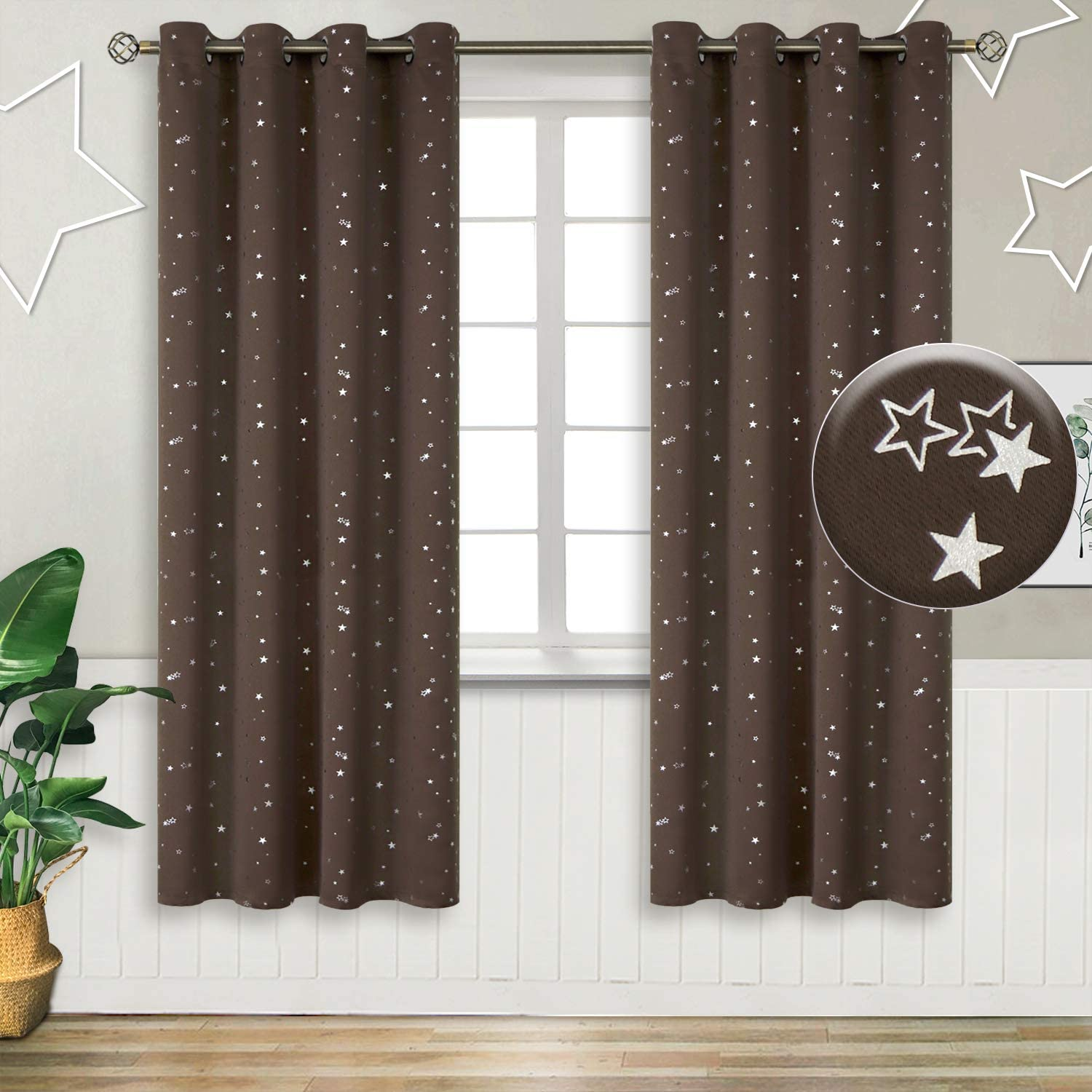 Eyelet Thermal Insulated Silver Star Print Room Darkening Curtains for Living Room BGment Kids Blackout Curtains for Bedroom 2 Panels W55 X L69 Inch, Brown