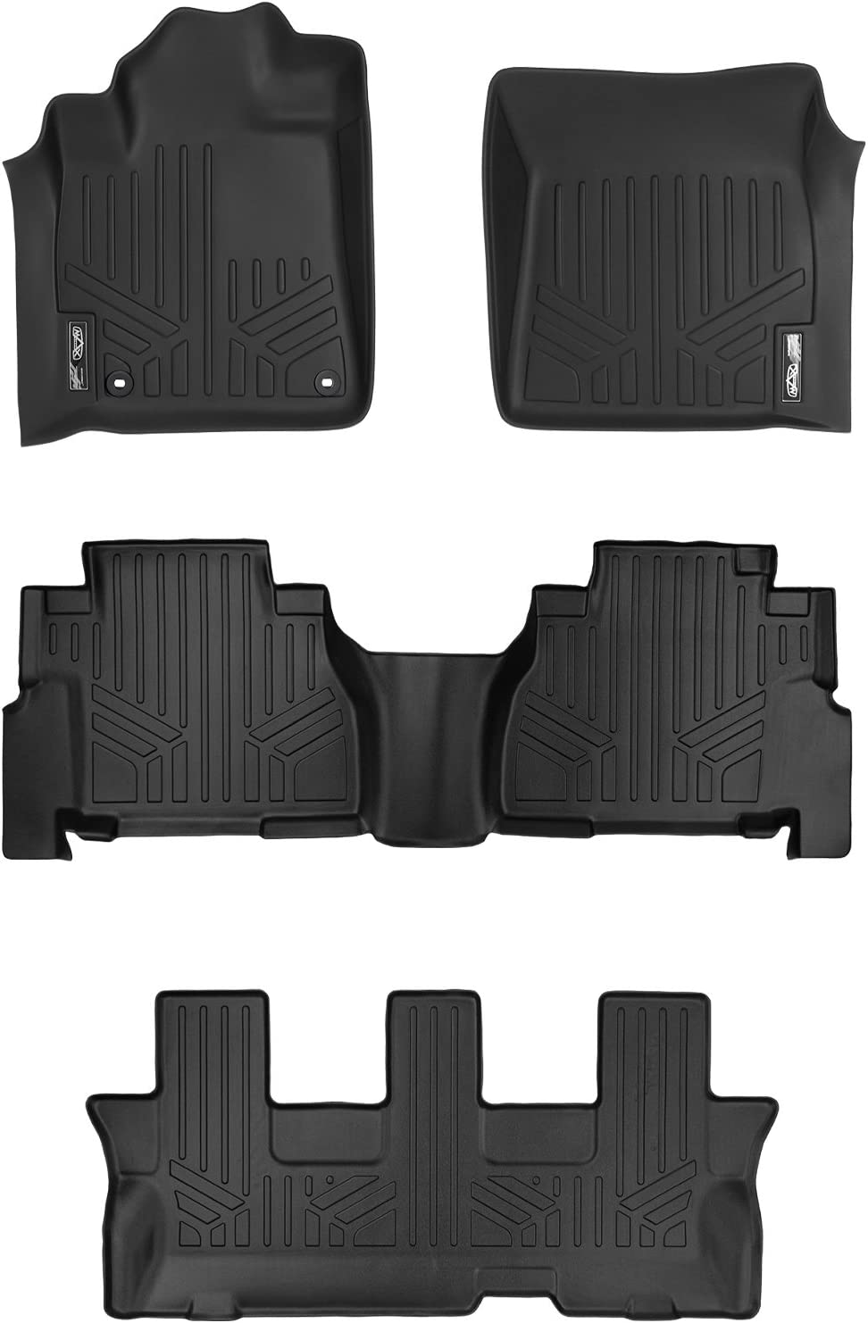 Black 3 Row Set 2012-2017 MAX LINER A0108//B0272//C0272 MAXFLOORMAT Floor Mats for Toyota Sequoia