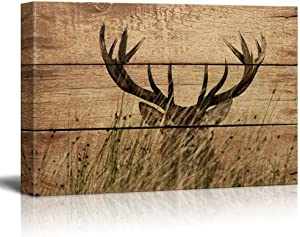 wall26 - Rustic Canvas Wall Art - Elk Antler - Giclee Print Modern Wall Art | Stretched Gallery Wrap Ready to Hang Home Decoration - 16x24 inches