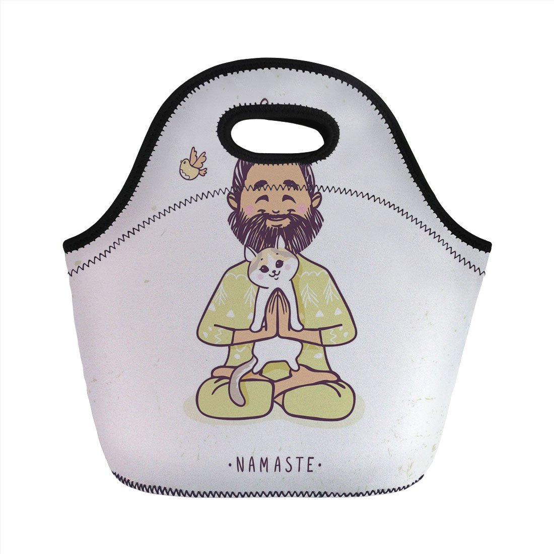 06301e6014 Neoprene Lunch Bag,Funny,Positive Man with Cat in Yoga Greeting Pose Namaste  Chakra Animal Love Design,Pale Green White,for Kids Adult Thermal Insulated  ...