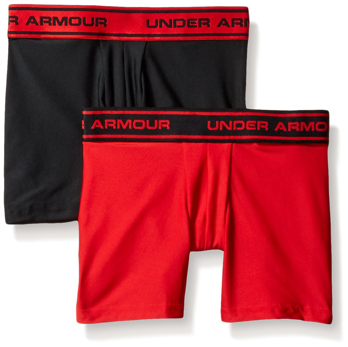 Under Armour Boys' Original Series Printed Boxerjock 2-Pack, Youth Black (004)/Black Youth X-Large Under Armour Apparel 1241922