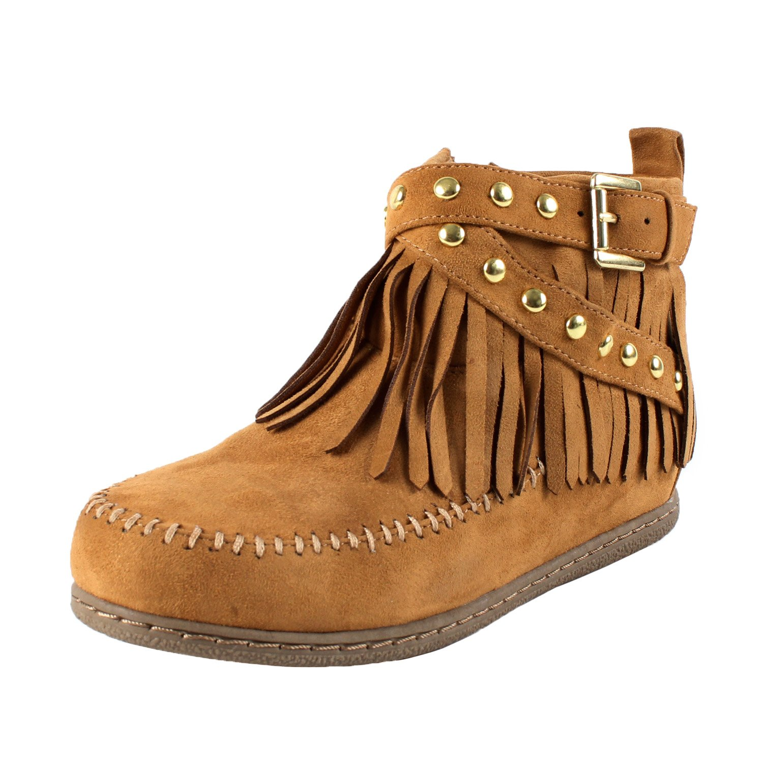 058eaec7074 SODA Women's Dahlia Faux Suede Moccasin Fringe Wedge Ankle Booties