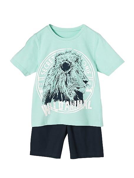 VERTBAUDET Pijama de dos tejidos con short niño AZUL MEDIO LISO CON MOTIVOS 2A: Amazon.es: Ropa y accesorios