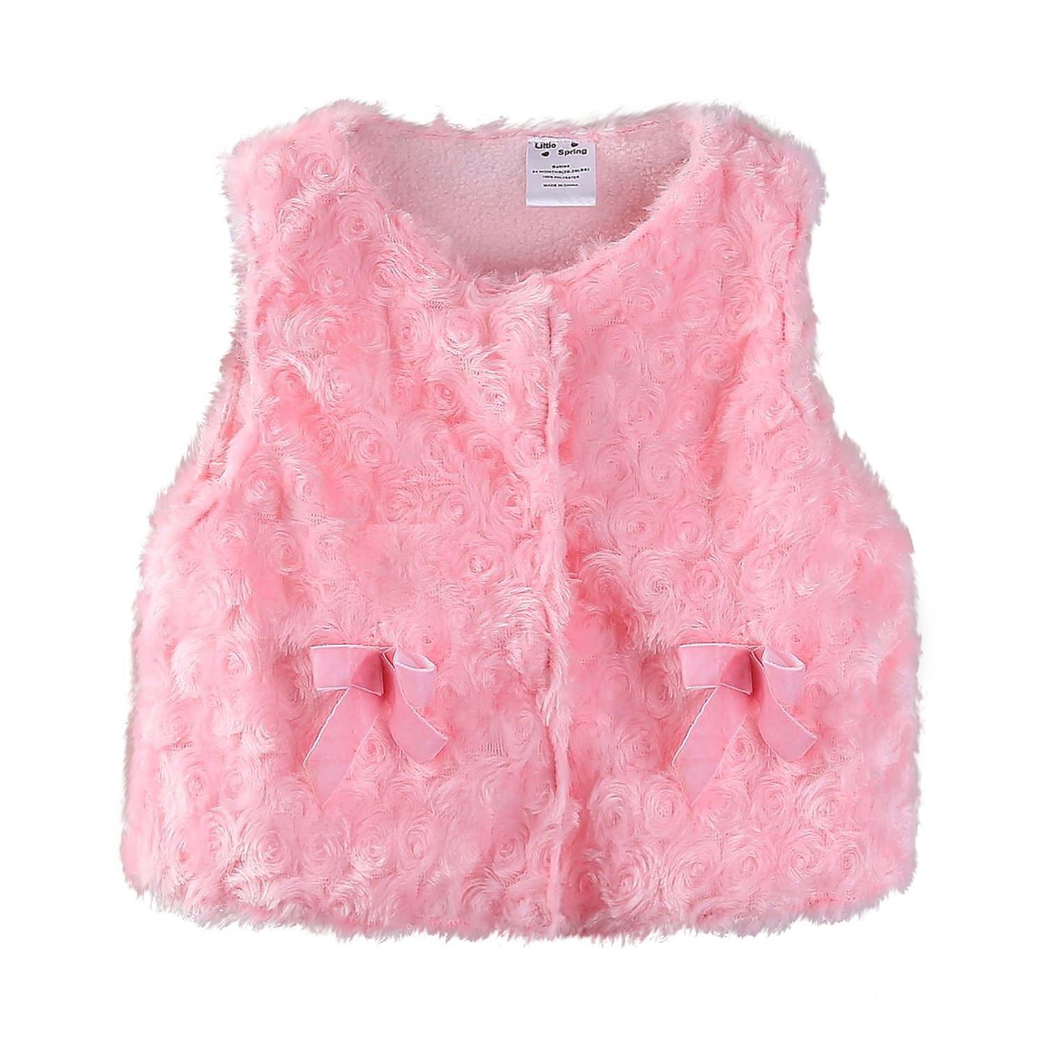 Mud Kingdom Cute Baby Girl Fleece Vests Faux Fur Z-S0356
