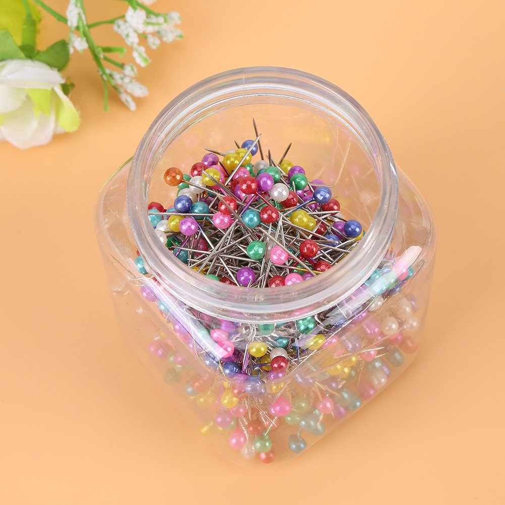 500pcs Beads Needles Quilting Pins In Orange Fabric Covered Pin Cushion Bottle Sewing Craft KEYREN Quilting Pins