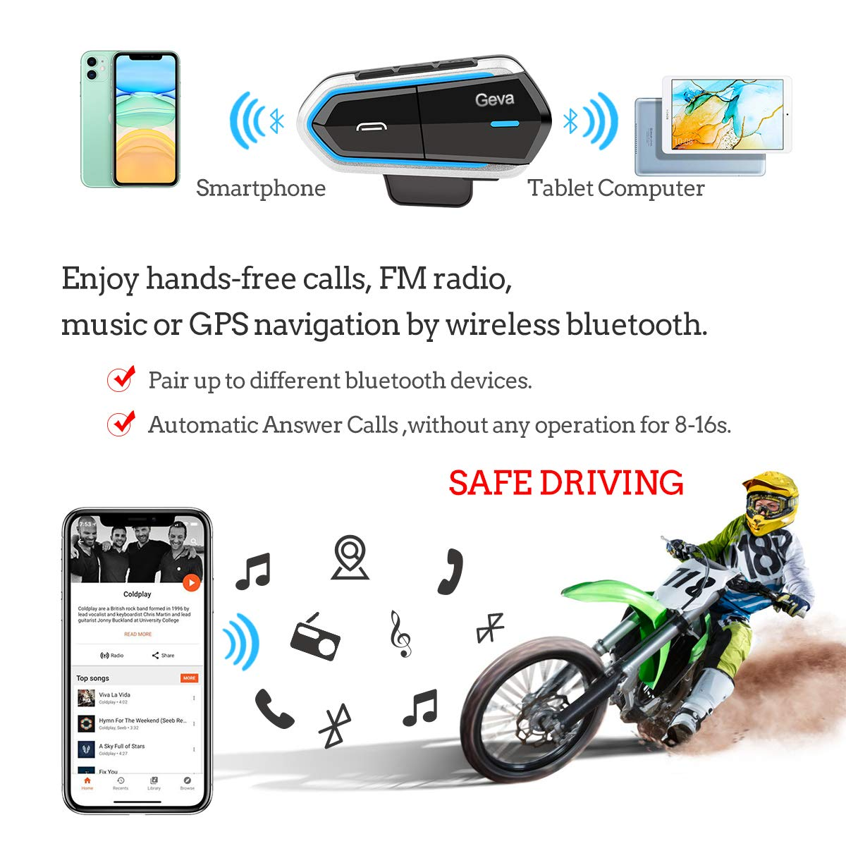 Motorcycle Bluetooth Headset Geva Helmet Bluetooth Headset FM Radio//Handsfree Automatic/Answer//Accounce Incoming Phone Number//HD Stereo Music