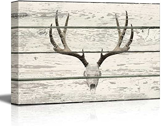16x24 inches Deer in Birch Forest Wood Cut Print Artwork Rustic Canvas Wall Art Home Decor wall26