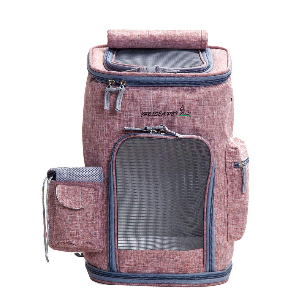 Light pink Breathable Comfort Pet Carrier Backpack, Waterproof Fabric Padded Soft Sided Airline Approved Portable Collapsible Mesh for Small Puppy Dogs Cats Travel (color   Light pink)