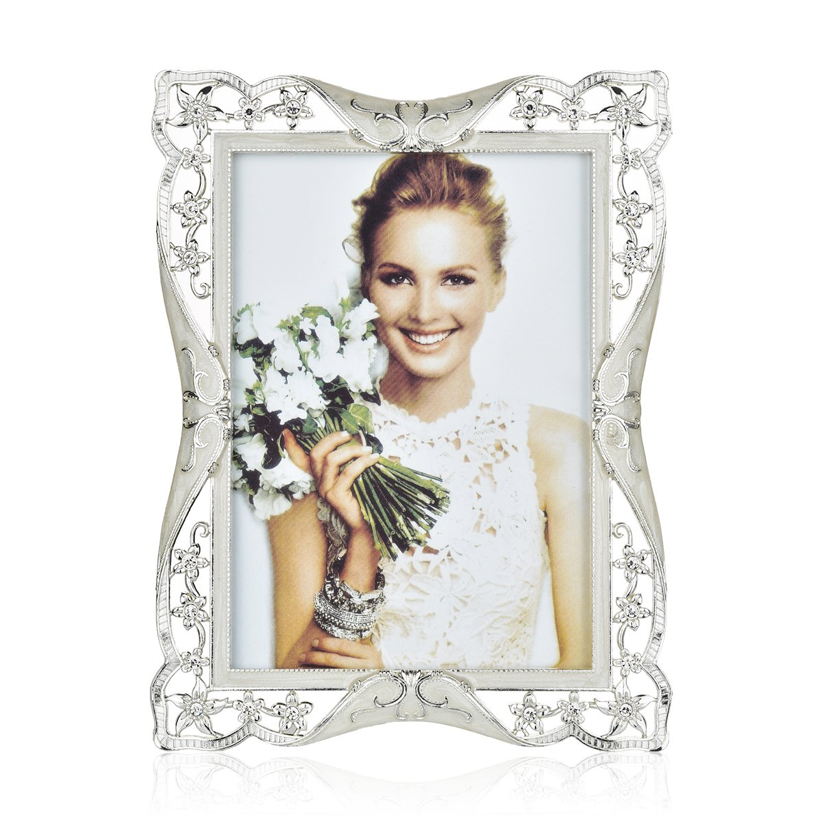 Bison Trading 8x10 Picture Frame | College Photo Frame | Wedding Picture Frame Made of EPOXY and Silver Plated Metal | Inlay Rhinestones Photo Frame Blocks Display Picture for Family Love Baby