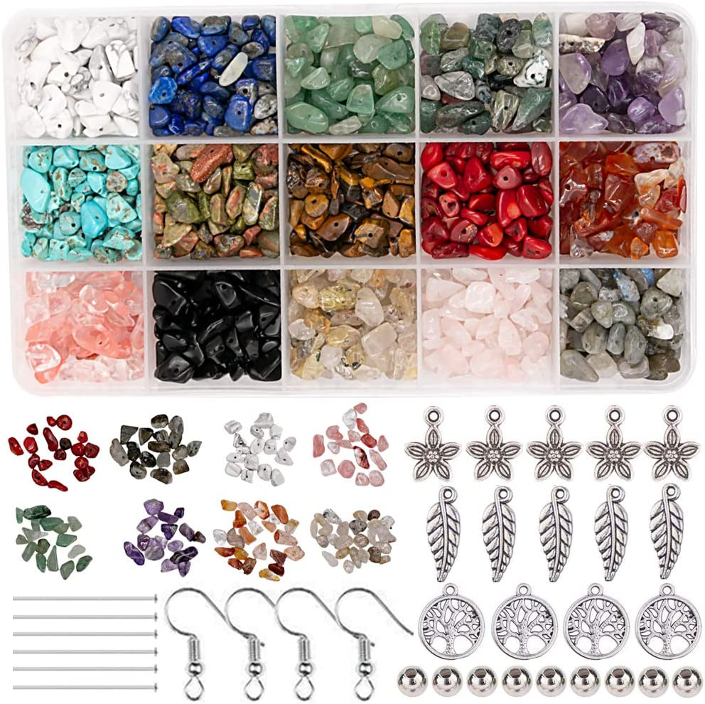 Potosala - Juego de cuentas de piedras preciosas naturales irregulares de 5 a 7 mm de cristal de piedra de energía natural para bricolaje, joyería, collar, pulsera, pendientes