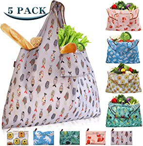 Shopping Bags Washable Reusable Bags for Shopping XX-Large 55LBS Foldable Cloth Shopping Bags Heavy Duty Eco-Friendly Ripstop Shopping Bags, 5-Pack Cute Animal Printing