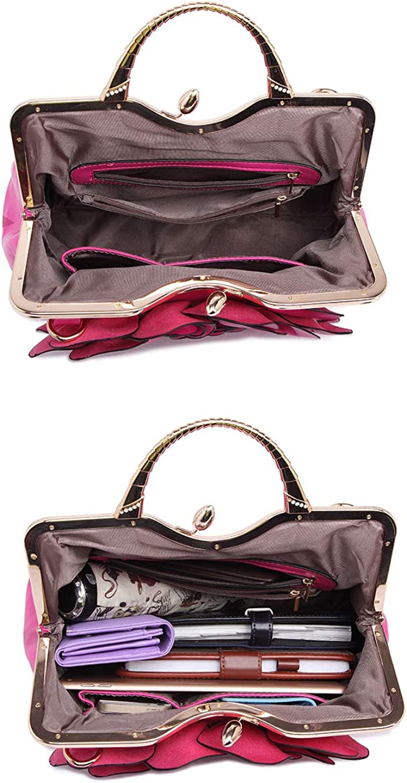 Women Handbags Fashion Rose Flower Top Handle Shoulder Bags Ladies Girls PU Leather Cross-body Platinum Package Lightpurple
