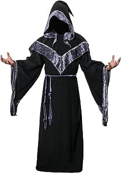 Nofonda Disfraz de Mago Monje Capa con Capucha Negra de Mágico ...