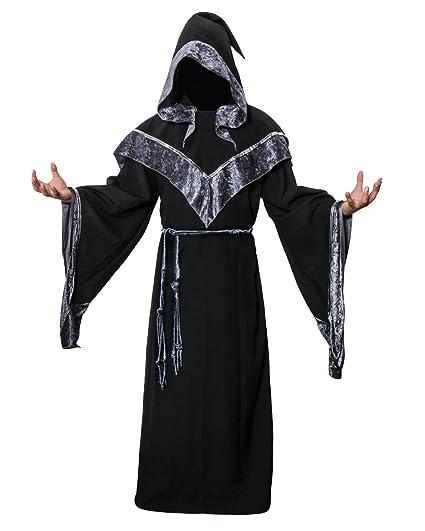 Disfraz de Mago Monje Capa con Capucha Negra de Mágico Sacerdote Traje de Bruja Hechiceros de Nofonda Ropa Medieval de Adultos Hombre para Fiesta de ...