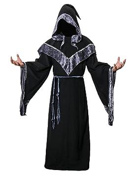 Disfraz de Mago Monje Capa con Capucha Negra de Mágico Sacerdote Traje de  Bruja Hechiceros de