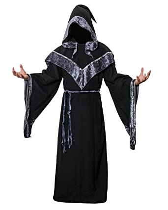 JUDE Adult Men s Dark Mystic Sorcerer Robe Halloween Costume with Hooded  Cape (Small) 577486e6b