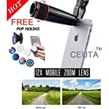 Ceuta Retails, Mobile Telescope Lens kit for All Mobile Camera with 12x Zoom | DSLR Blur Background Effect [ Android & iOS Devices ].