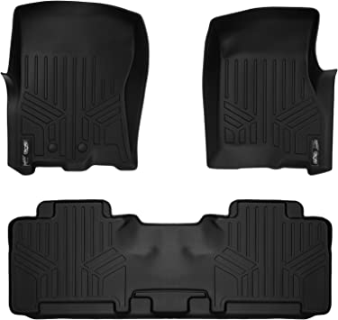 SMARTLINER Custom Fit Floor Mats 2nd Row Liner Black for 2007-2017 Ford Expedition//Lincoln Navigator