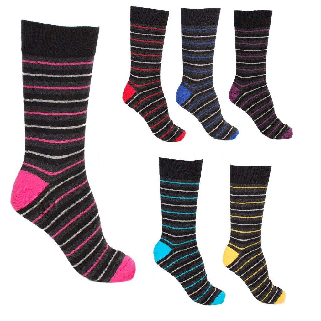 6 Pairs - Mens Pierre Calvini Multi Stripe Luxury Cotton Rich Socks 1H-Z4GV-NYNA