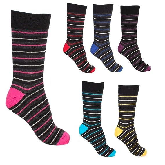 Pierre Calvini 6 pares de calcetines para hombre, diseño de rayas: Amazon.es: Ropa y accesorios
