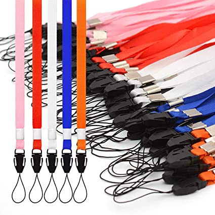 CKB Ltd 50 x Mixed Colour Pack Color Mezclado Lanyard Acollador ID Correa Cuello Divisa Tarjeta Clave Tenedor Colgante Cuello Cinta Neck Strap ID Card ...