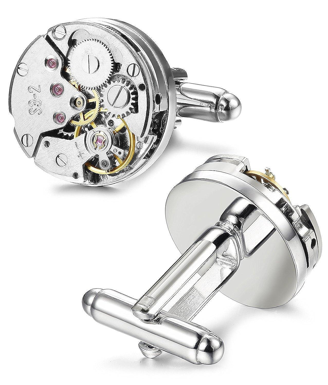 REINDEARデラックスWorking Movable Mechanical Watch Movement Cufflinks  Mechanical Movement Cufflinks w/ Velvet Pouch B07CJ3H4QD