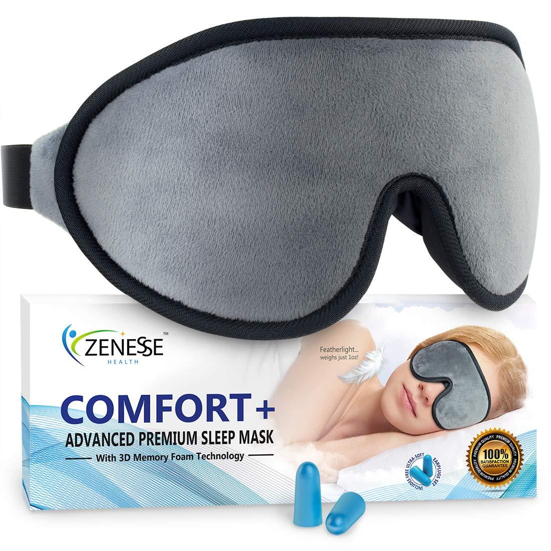 Comfort+ Advanced Premium Sleep Mask for Women & Men | Superior 3D REM Sleep Cavities Blacks Out All Light - 1oz Featherlight Eye Mask for Sleeping Won't Irritate Nose, Hair or Eyelash Extensions