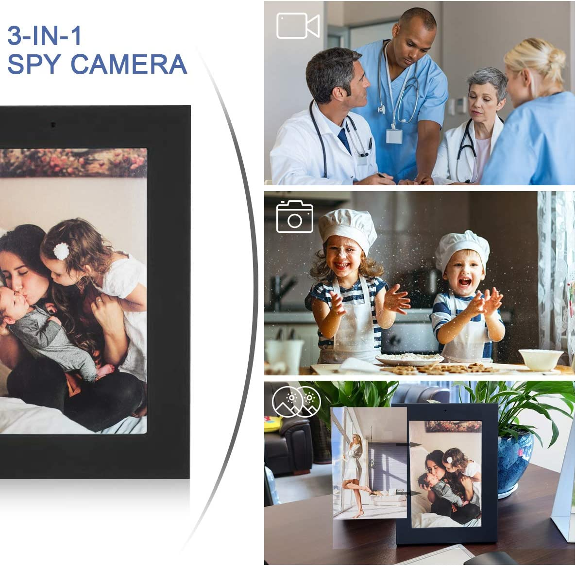 No WiFi Needed Taking Picture Mini Camera FHD 960P Picture Frame Shaped Nanny Security Camera for Home Office Recording Video