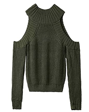 89f3559951189 AIYUE Women Autumn Winter Casual Sexy Cold Shoulder Turtle Neck Long Sleeve  Crop Baggy Loose Cable Knit Sweater Jumper Tops  Amazon.co.uk  Clothing
