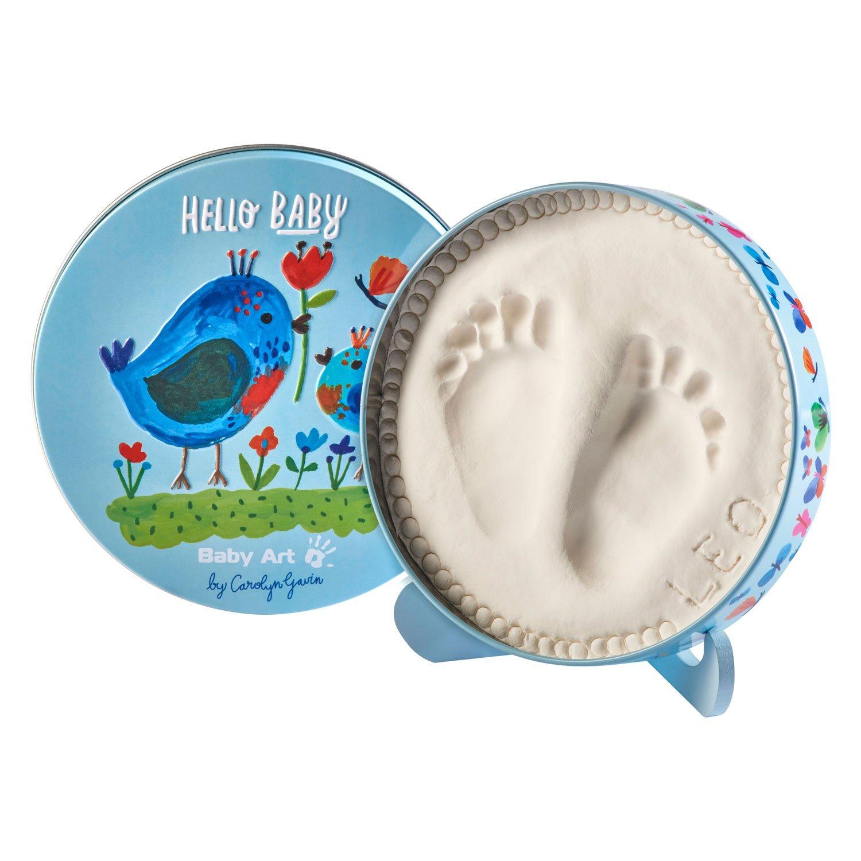 Baby Art Limited Edition Carolyn Gavin Magic Box Baby Hand//Footprint Casting Tin Hello Baby Birds Includes 2 Animal Door Jammers