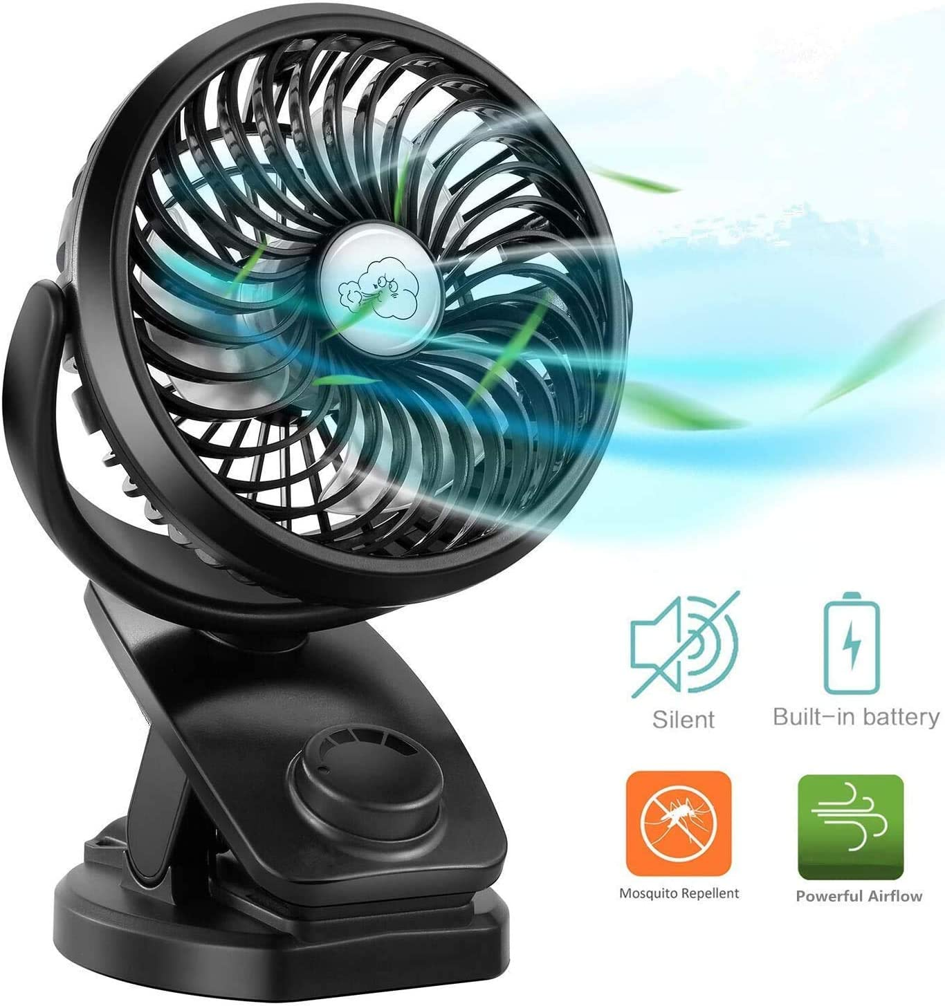 Blue and White//No Battery Handheld Fan,2pcs Mini Fan Portable Small Personal Ventilador Cooling Fan for Home Office Outdoor Travel