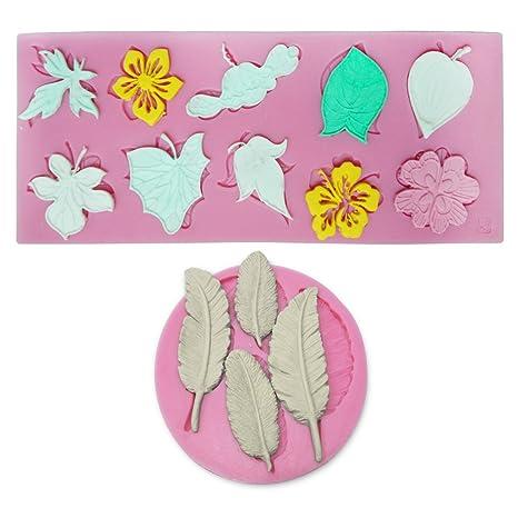 2 X Molde de Silicona Para Tarta, Diseño de Hoja de Flor de Chocolate,